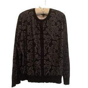 Ann Taylor Lace Floral Overlay Viscose Sweater XXL